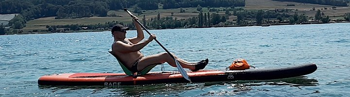 Race SUP mit Seat de Lux by Cross-Wind.ch